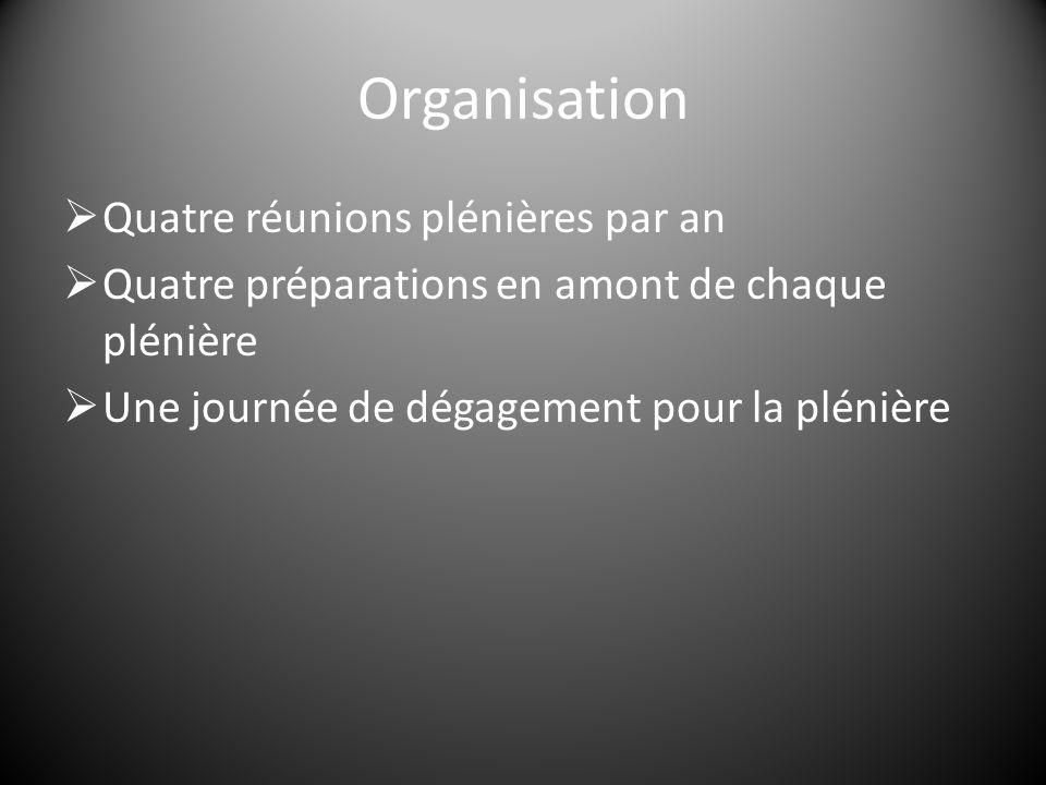 Organisation  Quatre réunions plénières par an  Quatre préparations en amont de chaque plénière  Une journée de dégagement pour la plénière