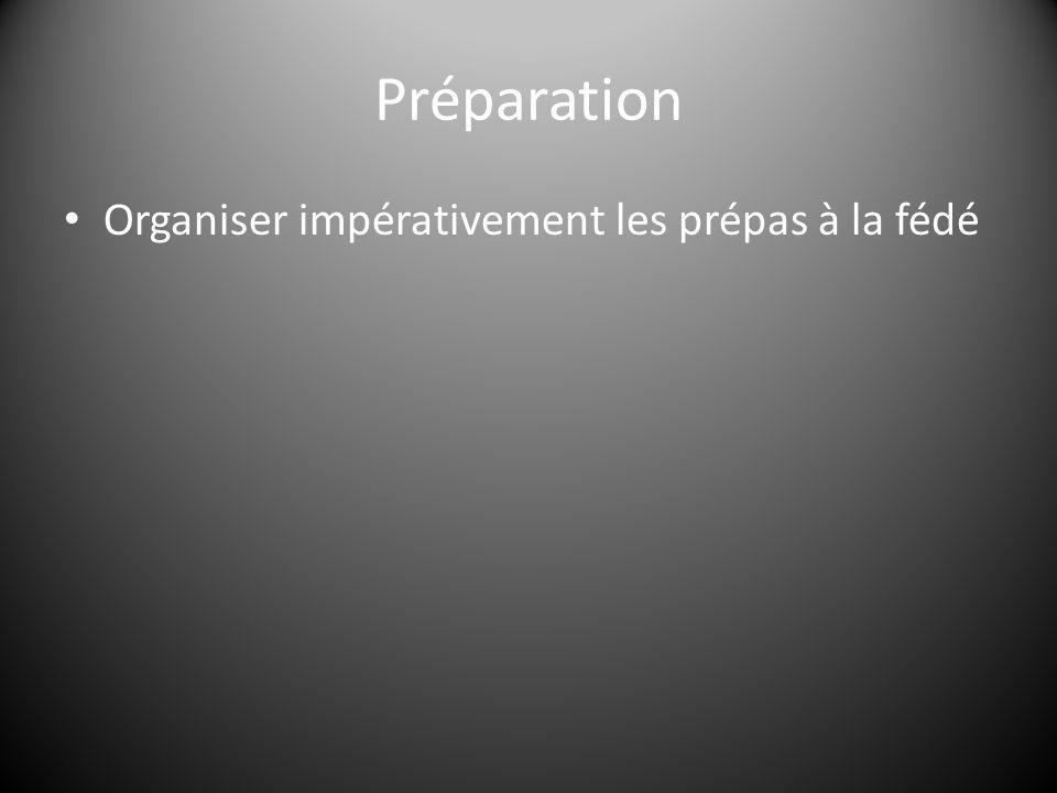 Préparation Organiser impérativement les prépas à la fédé