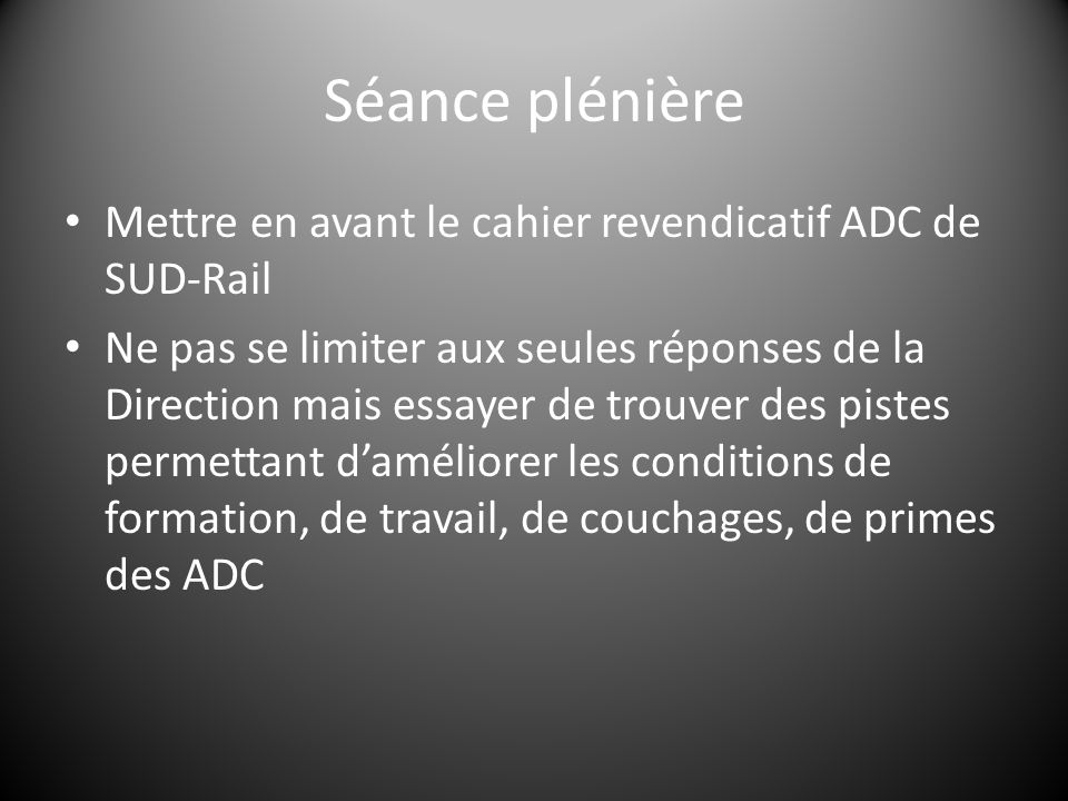 Séance plénière Mettre en avant le cahier revendicatif ADC de SUD-Rail Ne pas se limiter aux seules réponses de la Direction mais essayer de trouver des pistes permettant d'améliorer les conditions de formation, de travail, de couchages, de primes des ADC