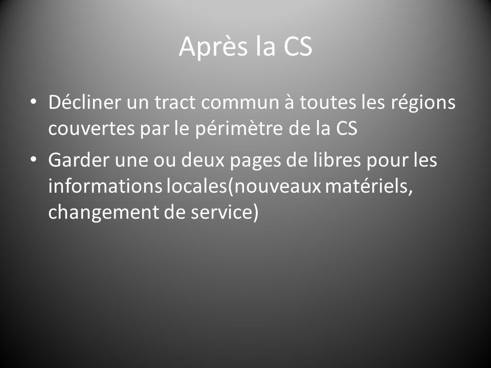 Après la CS Décliner un tract commun à toutes les régions couvertes par le périmètre de la CS Garder une ou deux pages de libres pour les informations locales(nouveaux matériels, changement de service)