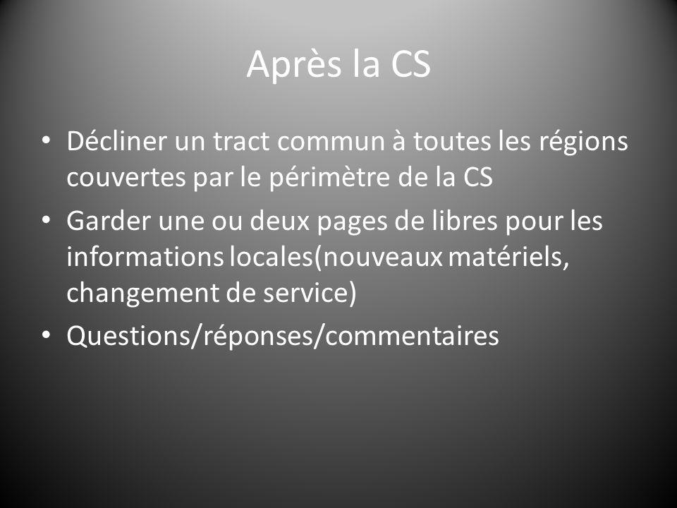 Après la CS Décliner un tract commun à toutes les régions couvertes par le périmètre de la CS Garder une ou deux pages de libres pour les informations