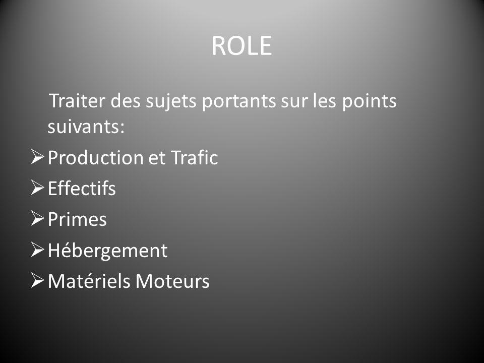 ROLE Traiter des sujets portants sur les points suivants:  Production et Trafic  Effectifs  Primes  Hébergement  Matériels Moteurs