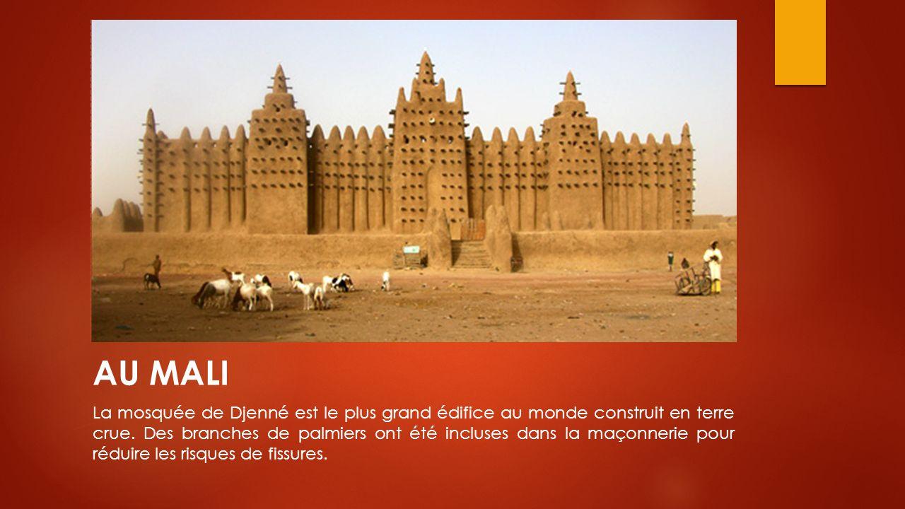 AU MALI La mosquée de Djenné est le plus grand édifice au monde construit en terre crue. Des branches de palmiers ont été incluses dans la maçonnerie