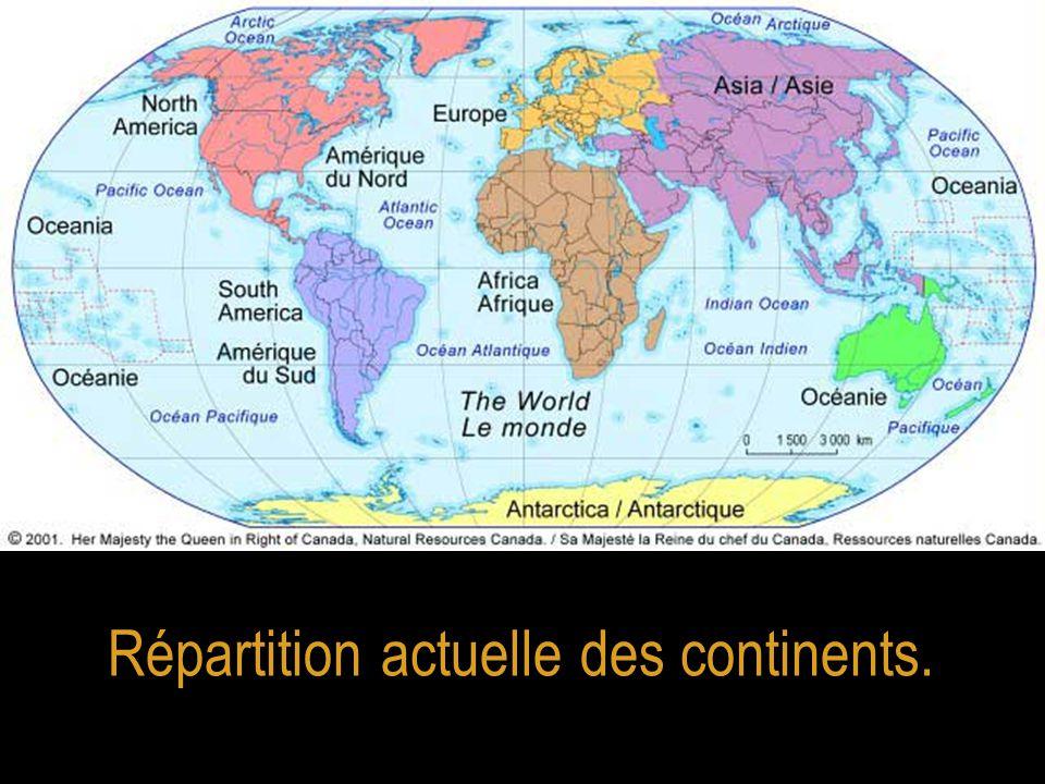 WEGENER a mis en évidence un certain nombre de similitudes entre des continents aujourd'hui séparés.