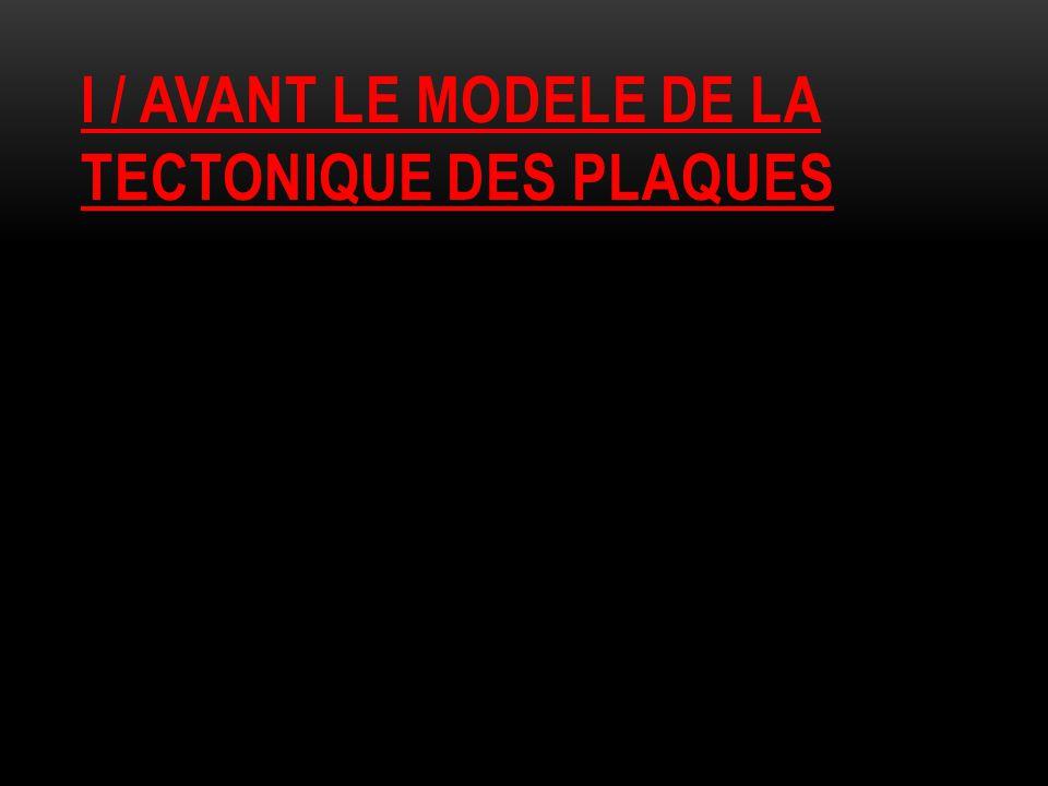 I / AVANT LE MODELE DE LA TECTONIQUE DES PLAQUES
