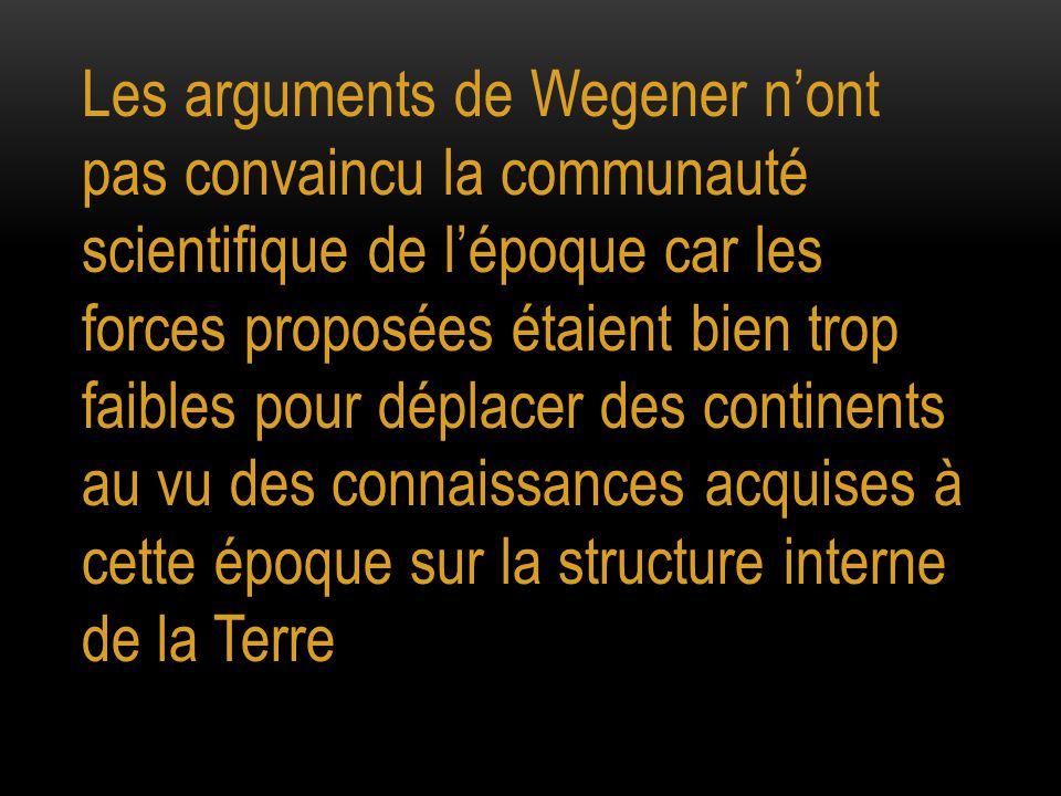 Les arguments de Wegener n'ont pas convaincu la communauté scientifique de l'époque car les forces proposées étaient bien trop faibles pour déplacer d