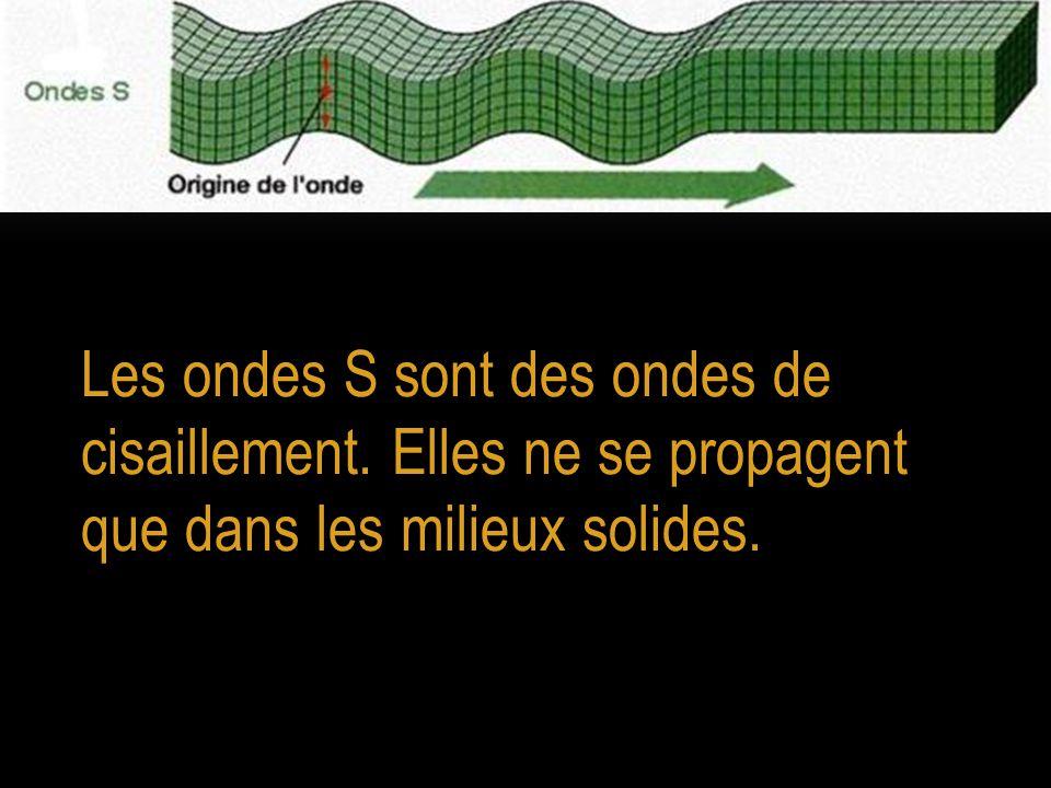 Les ondes S sont des ondes de cisaillement. Elles ne se propagent que dans les milieux solides.