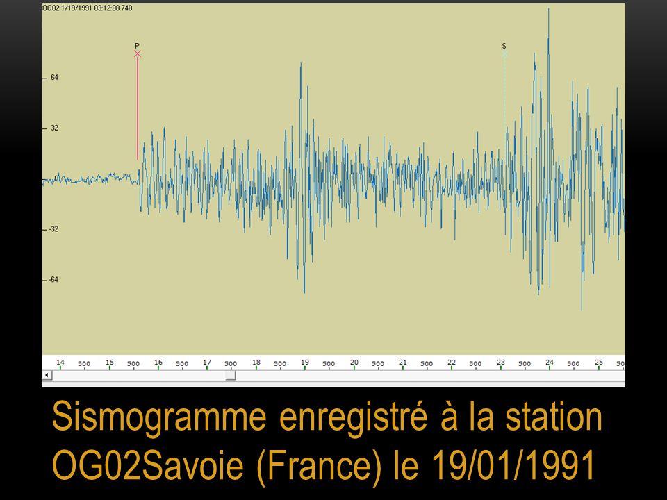 A partir d'un grand nombre d'enregistrements la vitesse moyenne de propagation des ondes P a été estimée à 6,25 km/s.