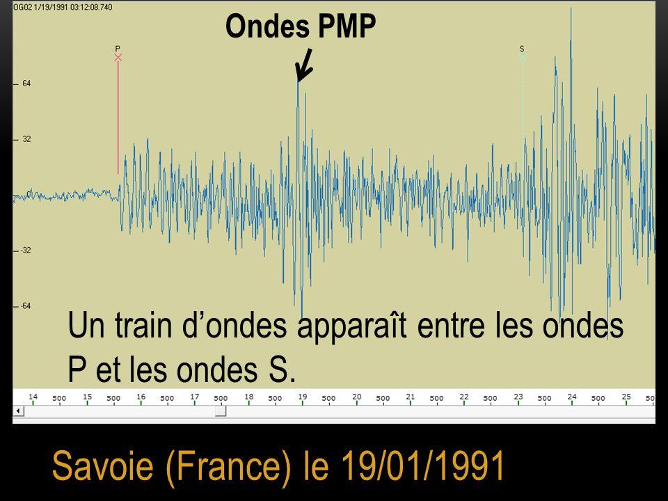 Savoie (France) le 19/01/1991 Ondes PMP Un train d'ondes apparaît entre les ondes P et les ondes S.