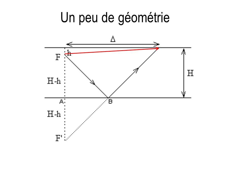 Quelle est la formule permettant de calculer H en fonction de h, V,  t et .
