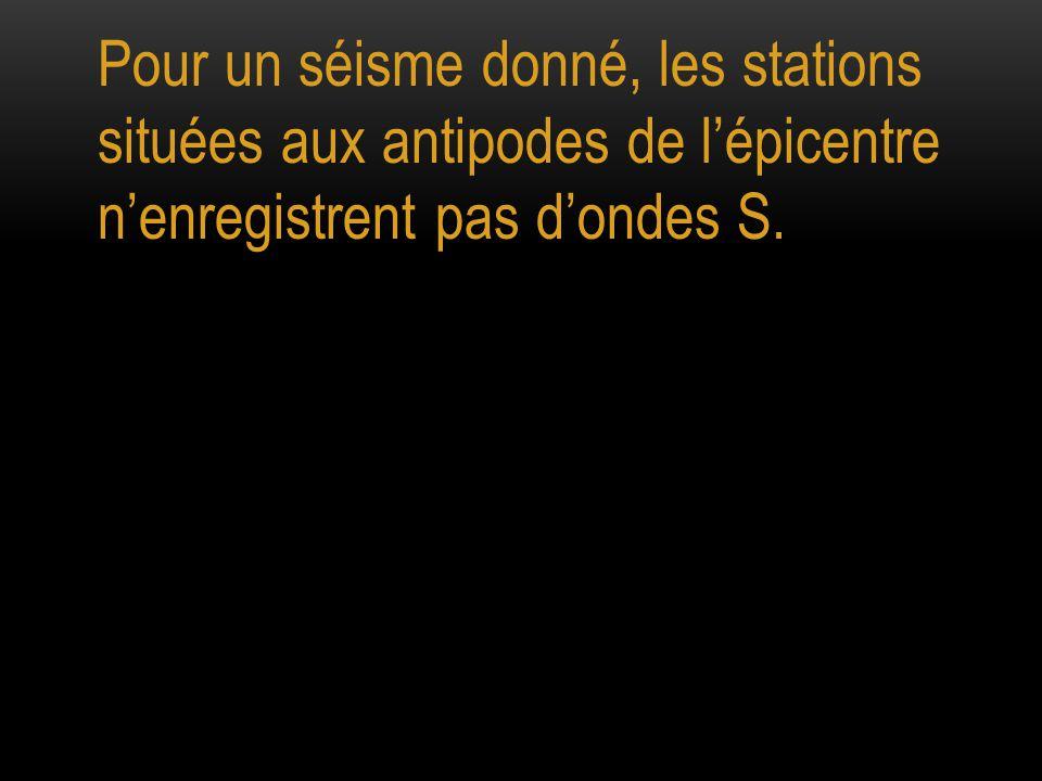 Pour un séisme donné, les stations situées aux antipodes de l'épicentre n'enregistrent pas d'ondes S.
