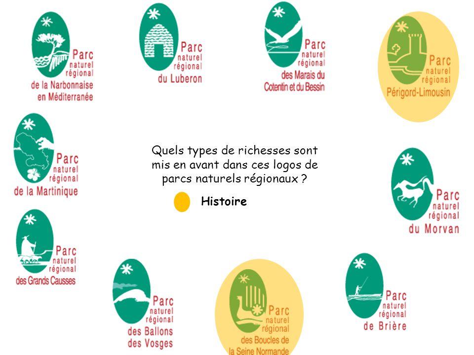 Quels types de richesses sont mis en avant dans ces logos de parcs naturels régionaux ? Histoire