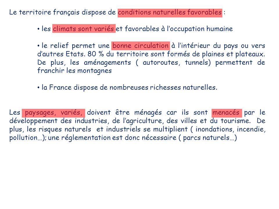 Le territoire français dispose de conditions naturelles favorables : les climats sont variés et favorables à l'occupation humaine le relief permet une bonne circulation à l'intérieur du pays ou vers d'autres Etats.