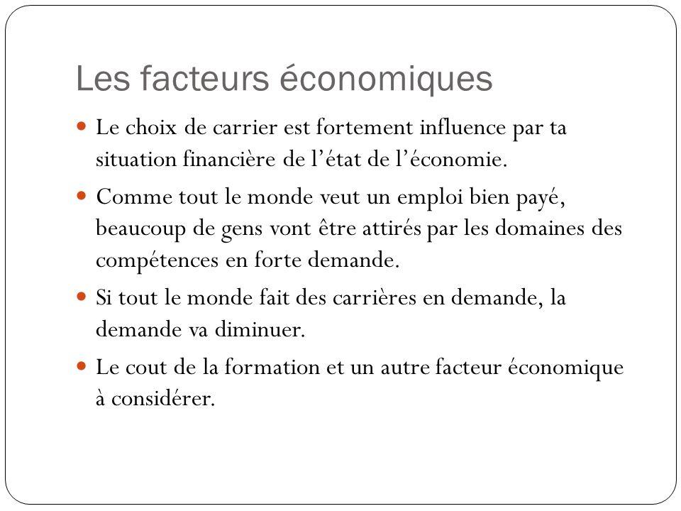 Les facteurs économiques Le choix de carrier est fortement influence par ta situation financière de l'état de l'économie.