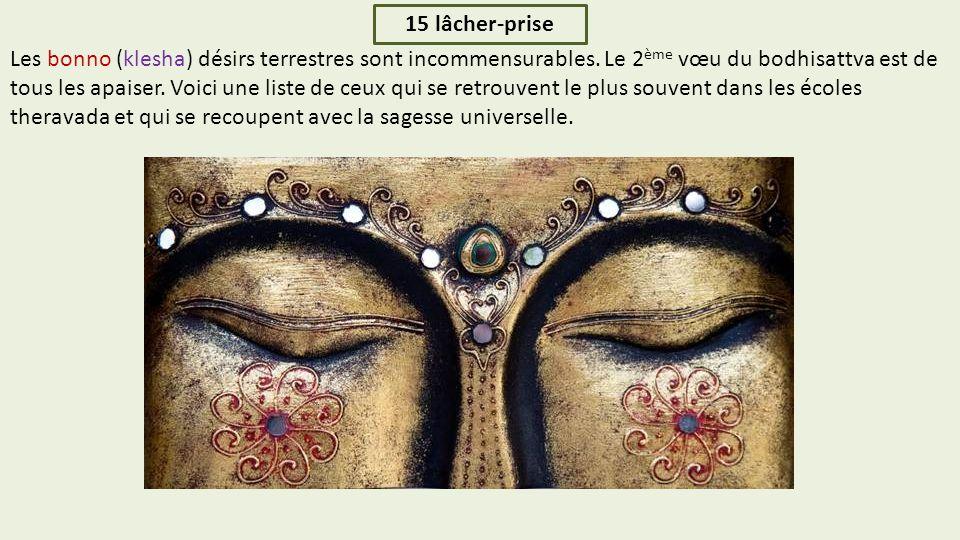 15 lâcher-prise Les bonno (klesha) désirs terrestres sont incommensurables.