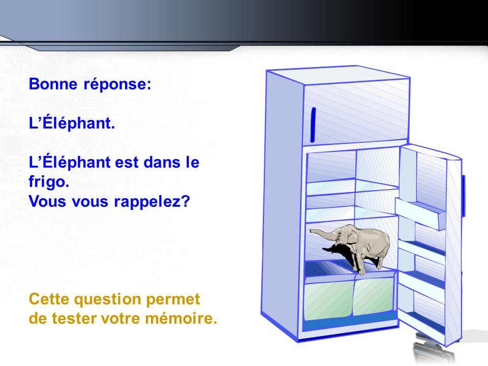 Bonne réponse: L'Éléphant. L'Éléphant est dans le frigo. Vous vous rappelez? Cette question permet de tester votre mémoire.