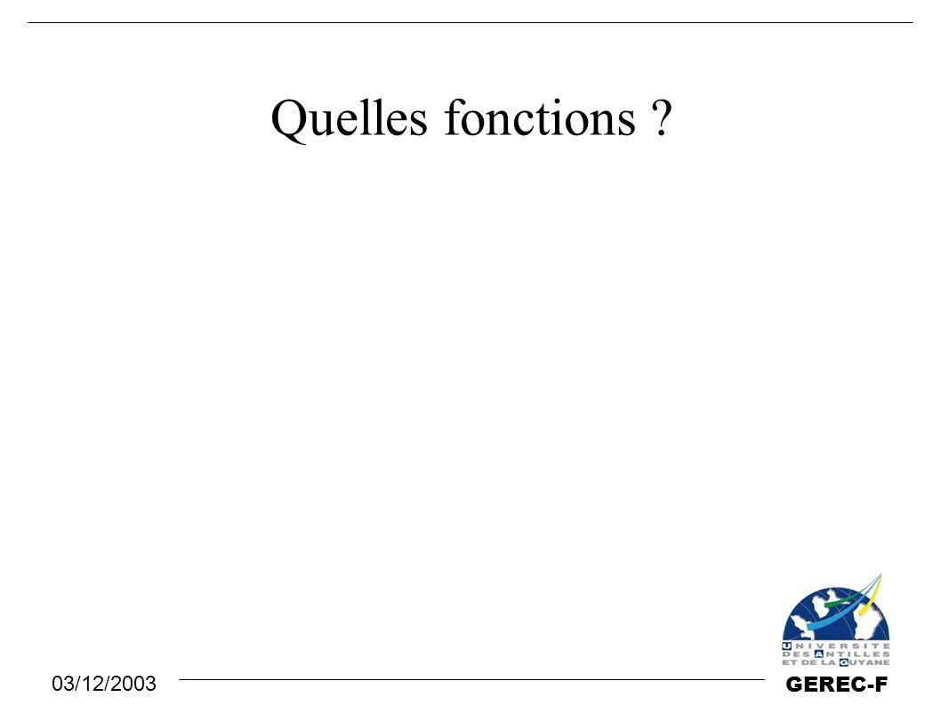 03/12/2003 GEREC-F Quelles fonctions ?