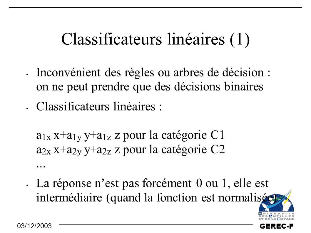 03/12/2003 GEREC-F Classificateurs linéaires (1) Inconvénient des règles ou arbres de décision : on ne peut prendre que des décisions binaires Classif