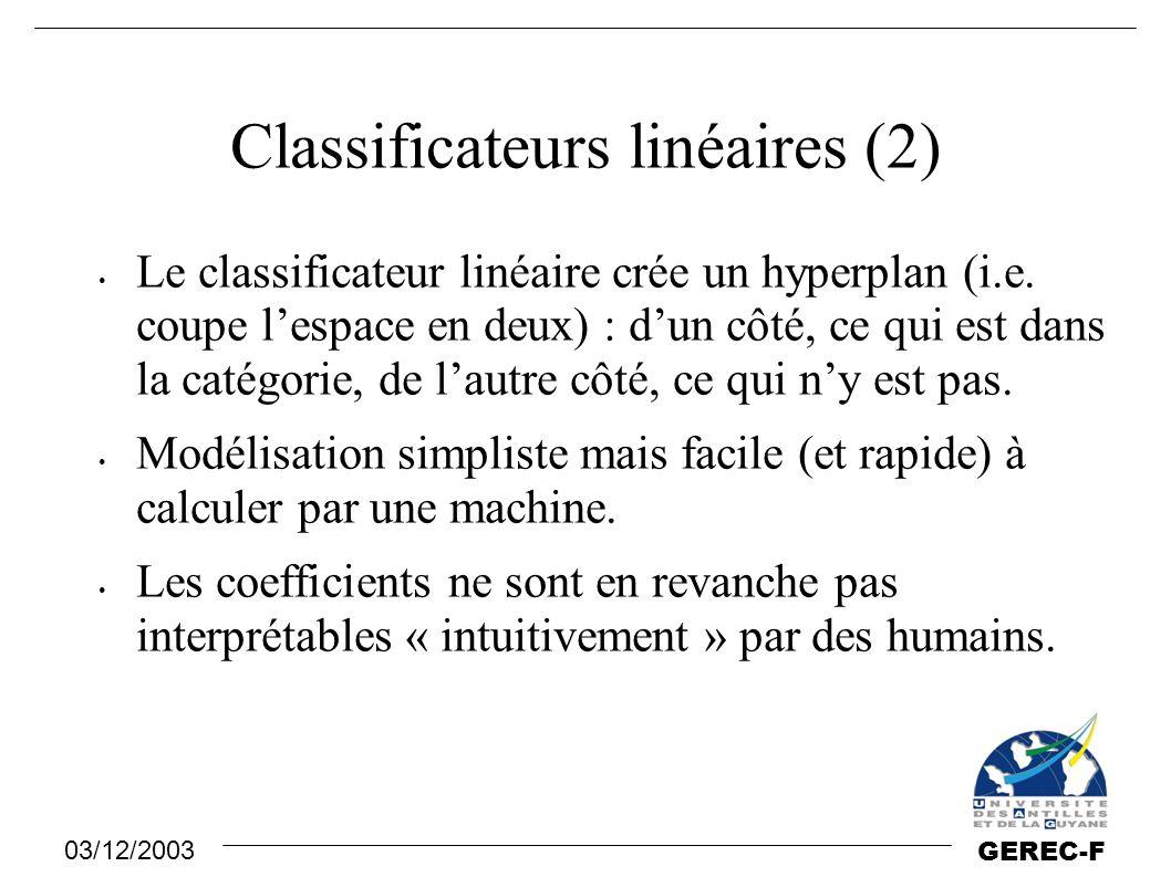 03/12/2003 GEREC-F Classificateurs linéaires (2) Le classificateur linéaire crée un hyperplan (i.e. coupe l'espace en deux) : d'un côté, ce qui est da