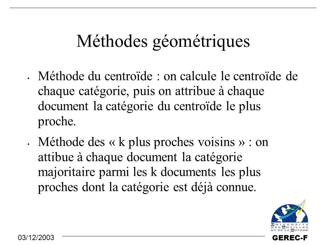 03/12/2003 GEREC-F Méthodes géométriques Méthode du centroïde : on calcule le centroïde de chaque catégorie, puis on attribue à chaque document la cat