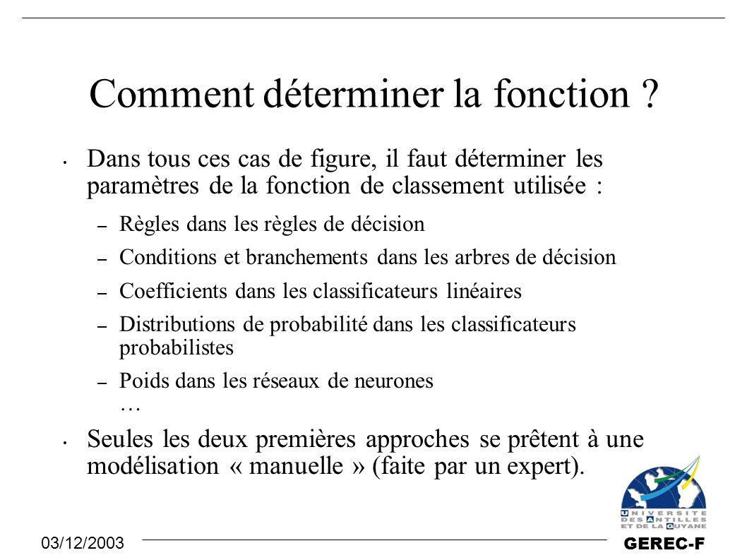 03/12/2003 GEREC-F Comment déterminer la fonction ? Dans tous ces cas de figure, il faut déterminer les paramètres de la fonction de classement utilis