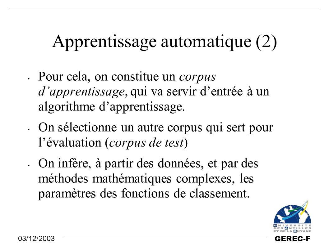 03/12/2003 GEREC-F Apprentissage automatique (2) Pour cela, on constitue un corpus d'apprentissage, qui va servir d'entrée à un algorithme d'apprentis
