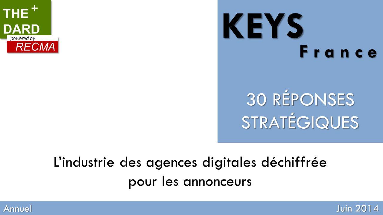 RECMA TOOL Quaterly updated Annuel Juin 2014 L'industrie des agences digitales déchiffrée pour les annonceurs THE DARD + RECMA powered by 30 RÉPONSES STRATÉGIQUES KEYS F r a n c e