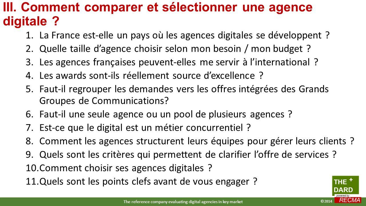 1.La France est-elle un pays où les agences digitales se développent ? 2.Quelle taille d'agence choisir selon mon besoin / mon budget ? 3.Les agences