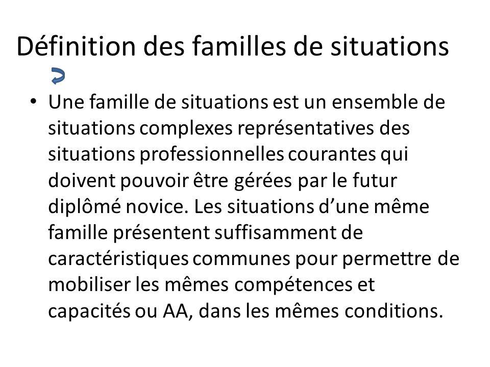 Définition des familles de situations Une famille de situations est un ensemble de situations complexes représentatives des situations professionnelle
