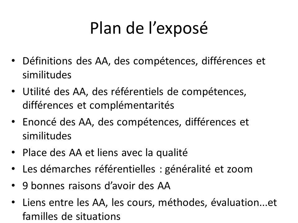 Plan de l'exposé Définitions des AA, des compétences, différences et similitudes Utilité des AA, des référentiels de compétences, différences et compl