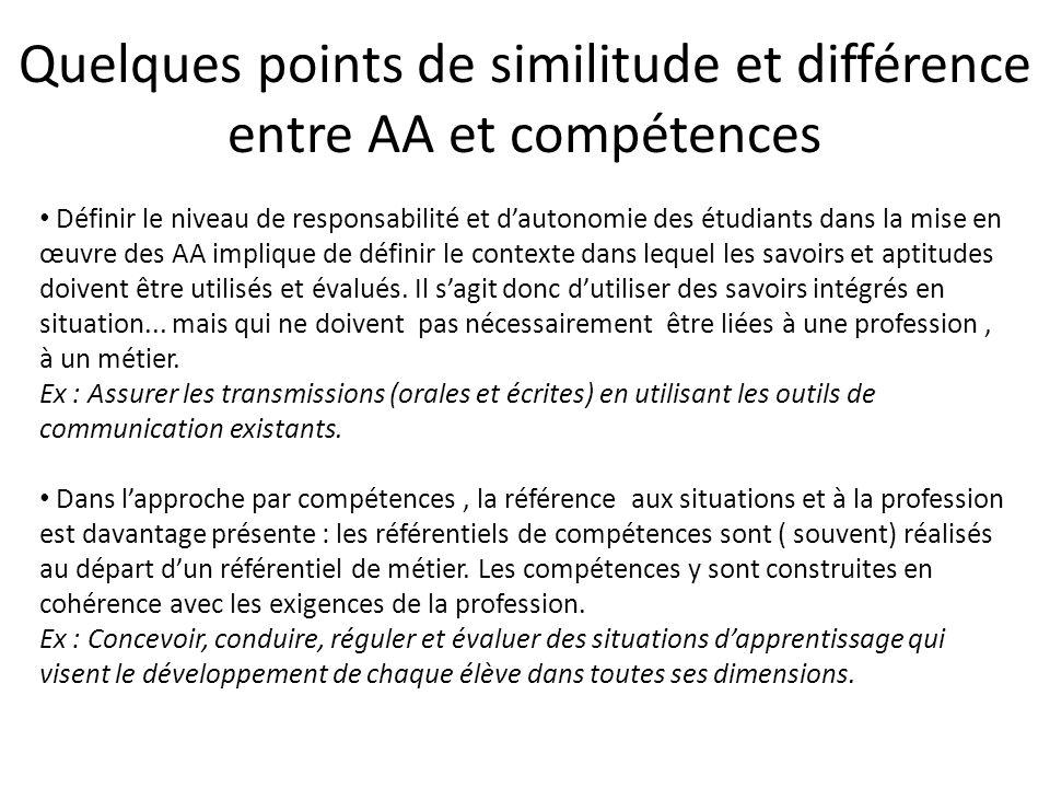 Quelques points de similitude et différence entre AA et compétences (suite) AACompétences Focus sur l'apprenant++ Utilisation de manière intégrée de savoirs et aptitudes Pas toujours.