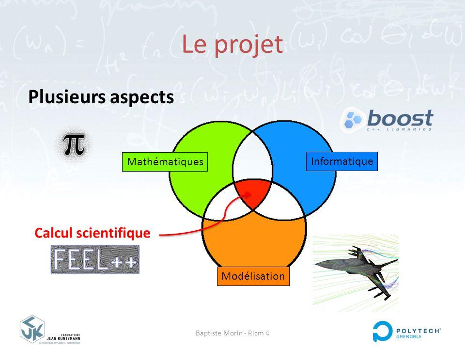 Baptiste Morin - Ricm 4 Le projet Plusieurs aspects Informatique Modélisation Calcul scientifique Mathématiques