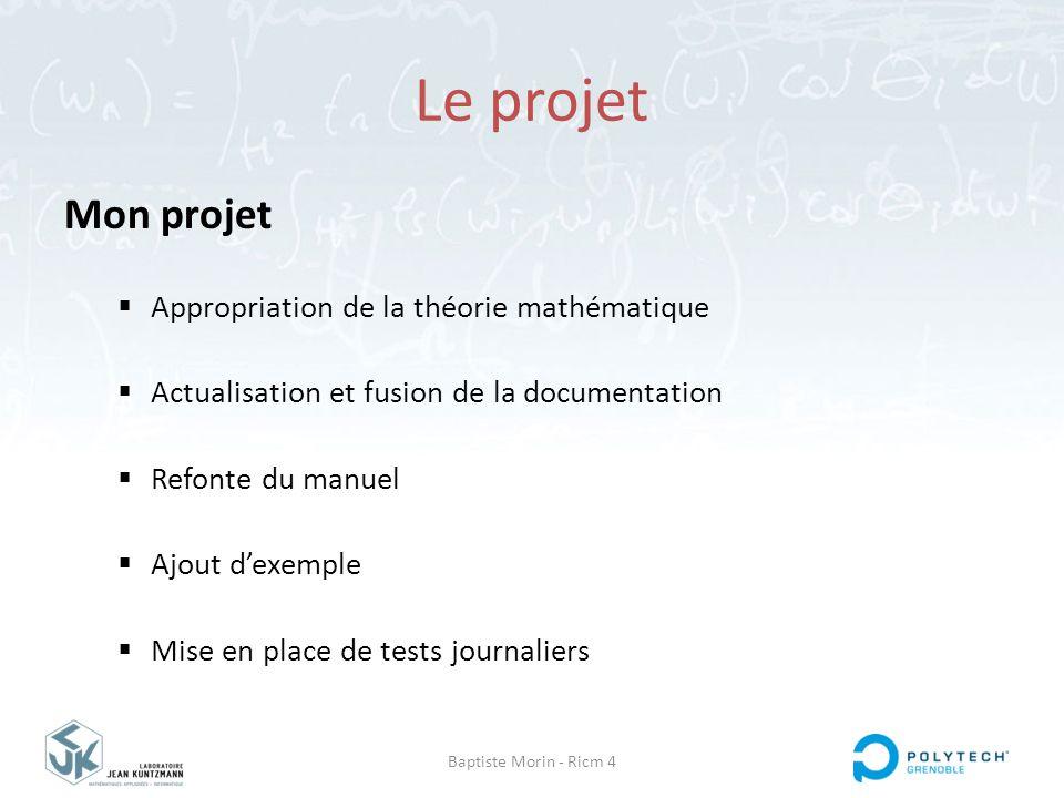 Baptiste Morin - Ricm 4 Le projet Mon projet  Appropriation de la théorie mathématique  Actualisation et fusion de la documentation  Refonte du man