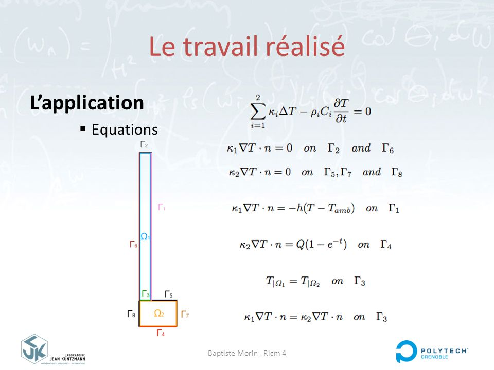 Baptiste Morin - Ricm 4 Le travail réalisé L'application  Equations