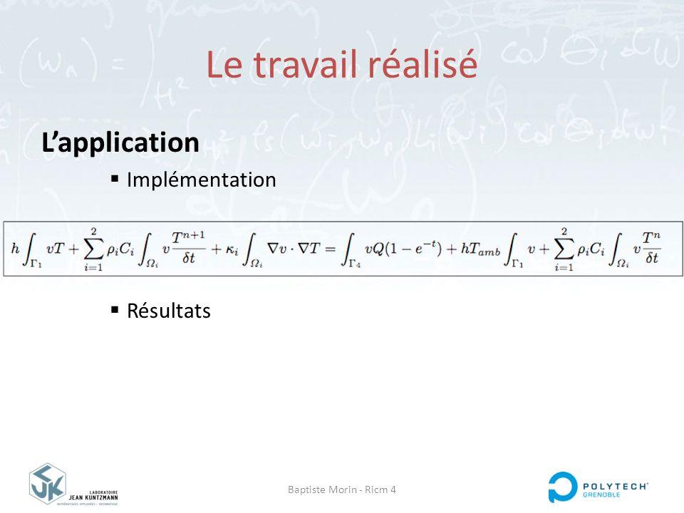 Baptiste Morin - Ricm 4 Le travail réalisé L'application  Implémentation  Résultats