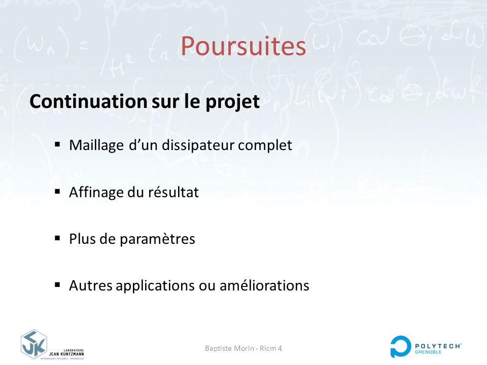 Baptiste Morin - Ricm 4 Poursuites Continuation sur le projet  Maillage d'un dissipateur complet  Affinage du résultat  Plus de paramètres  Autres