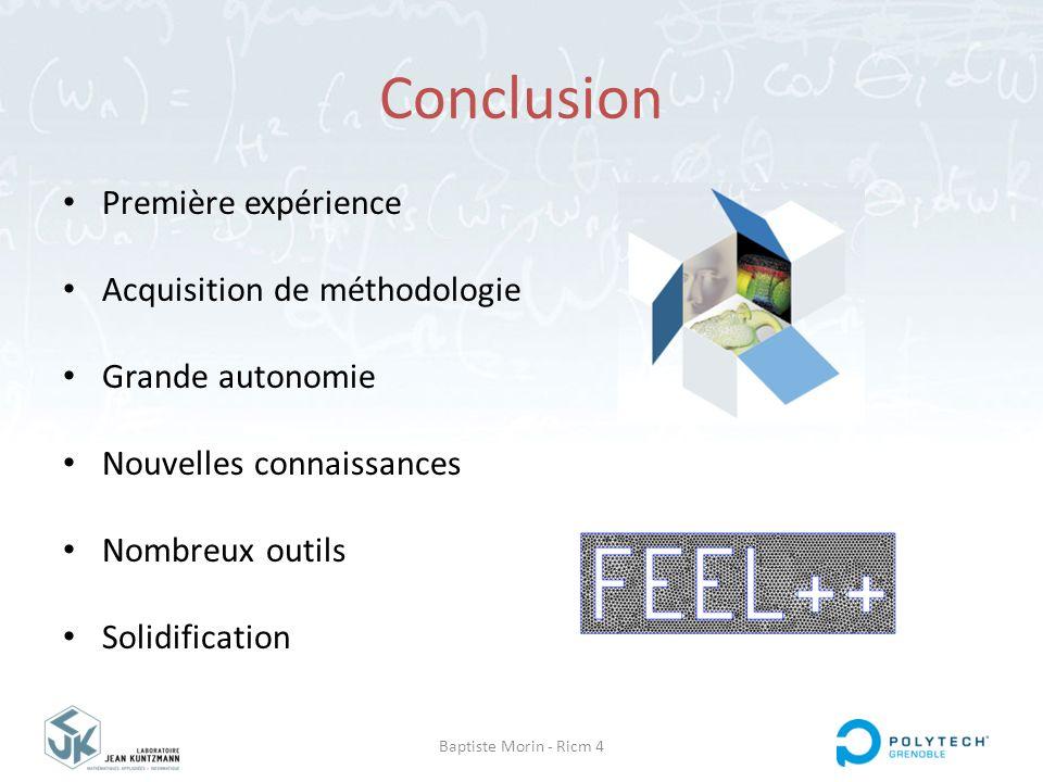 Baptiste Morin - Ricm 4 Conclusion Première expérience Acquisition de méthodologie Grande autonomie Nouvelles connaissances Nombreux outils Solidifica