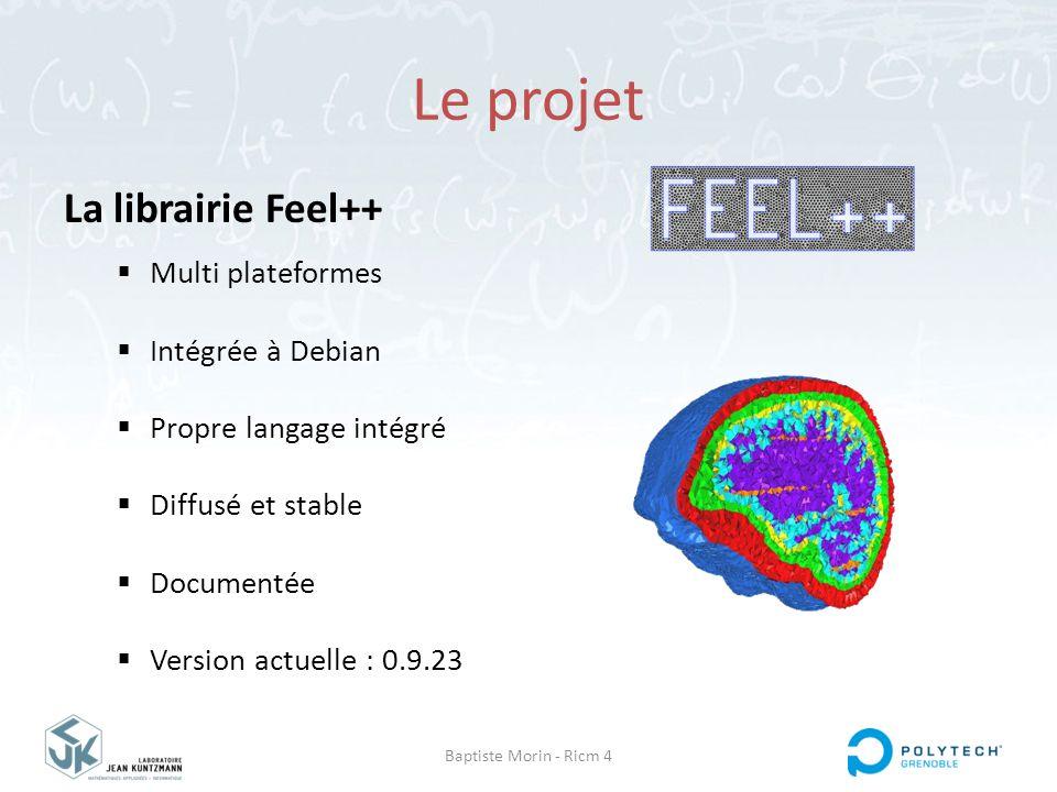 Baptiste Morin - Ricm 4 Le projet La librairie Feel++  Multi plateformes  Intégrée à Debian  Propre langage intégré  Diffusé et stable  Documenté