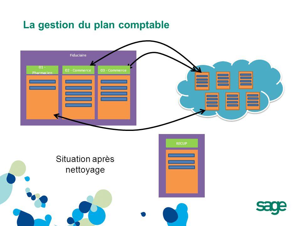 La gestion du plan comptable Fiduciaire RECUP Situation après nettoyage 01 - Pharmacien 02 - Commerce03 - Commerce