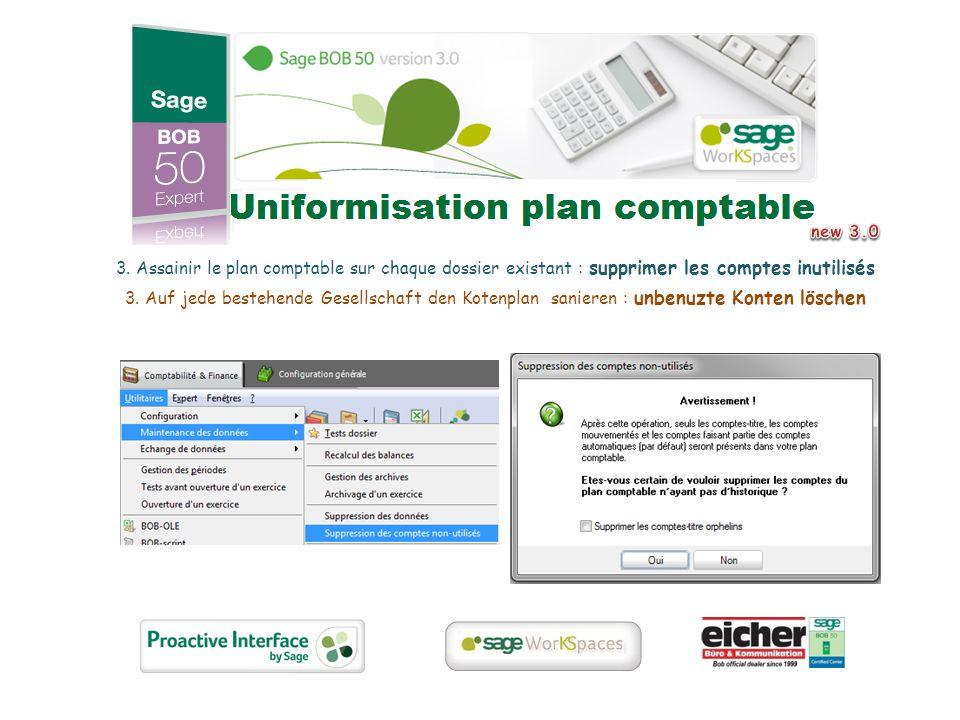 3. Assainir le plan comptable sur chaque dossier existant : supprimer les comptes inutilisés 3.