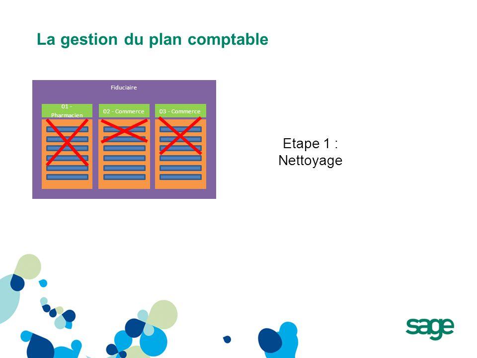 La gestion du plan comptable Fiduciaire 01 - Pharmacien 03 - Commerce Etape 1 : Nettoyage 02 - Commerce