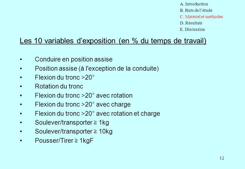 12 Les 10 variables d'exposition (en % du temps de travail) Conduire en position assise Position assise (à l'exception de la conduite) Flexion du tron