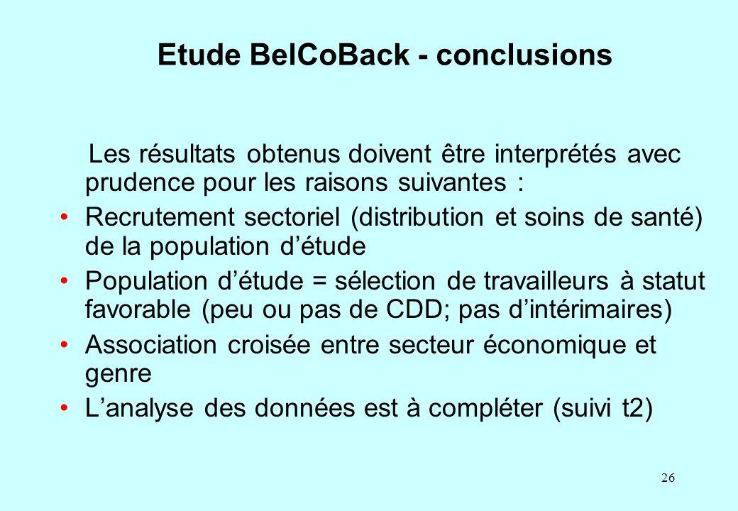 26 Etude BelCoBack - conclusions Les résultats obtenus doivent être interprétés avec prudence pour les raisons suivantes : Recrutement sectoriel (dist