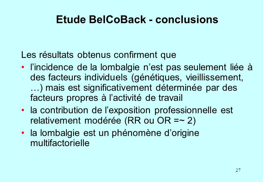 27 Etude BelCoBack - conclusions Les résultats obtenus confirment que l'incidence de la lombalgie n'est pas seulement liée à des facteurs individuels