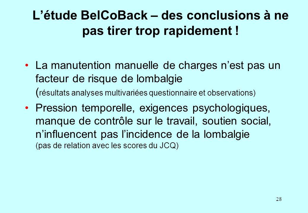 28 L'étude BelCoBack – des conclusions à ne pas tirer trop rapidement ! La manutention manuelle de charges n'est pas un facteur de risque de lombalgie