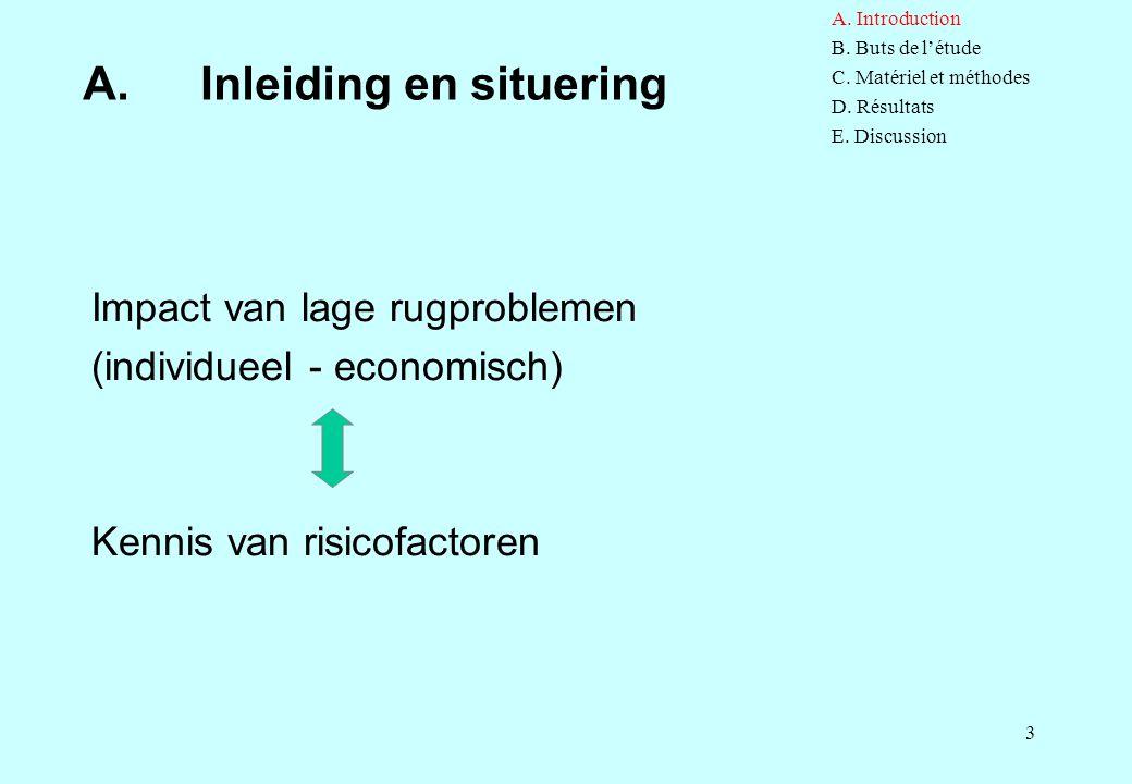 3 A. Inleiding en situering Impact van lage rugproblemen (individueel - economisch) Kennis van risicofactoren A. Introduction B. Buts de l'étude C. Ma