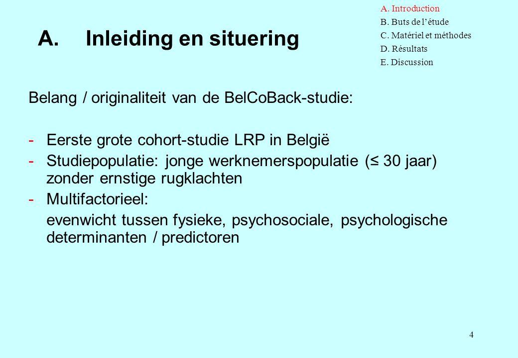 4 A.Inleiding en situering Belang / originaliteit van de BelCoBack-studie: -Eerste grote cohort-studie LRP in België -Studiepopulatie: jonge werknemer