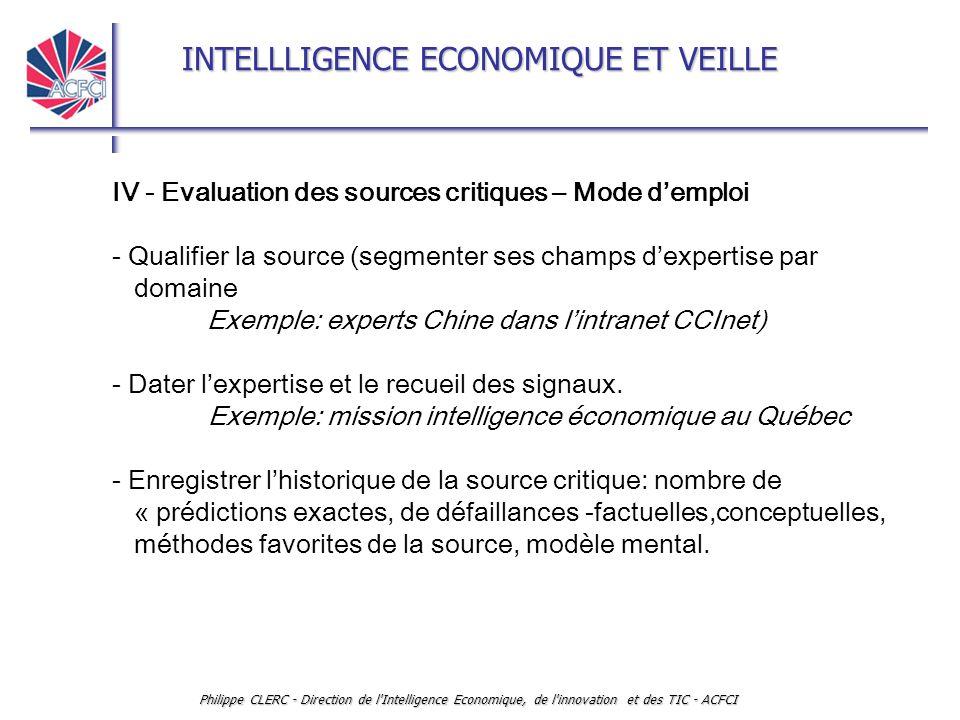 INTELLLIGENCE ECONOMIQUE ET VEILLE Philippe CLERC - Direction de l'Intelligence Economique, de l'innovation et des TIC - ACFCI IV - Evaluation des sou