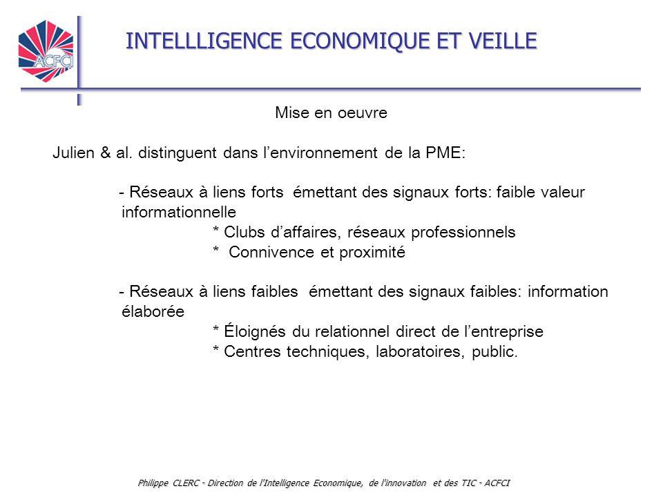 INTELLLIGENCE ECONOMIQUE ET VEILLE Philippe CLERC - Direction de l Intelligence Economique, de l innovation et des TIC - ACFCI Mise en oeuvre Julien & al.