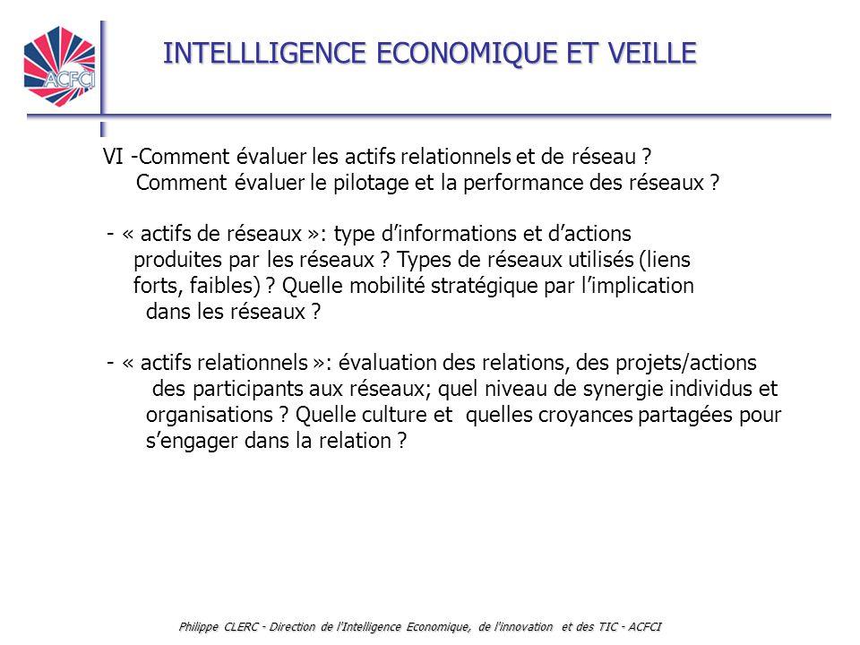 INTELLLIGENCE ECONOMIQUE ET VEILLE Philippe CLERC - Direction de l Intelligence Economique, de l innovation et des TIC - ACFCI VI -Comment évaluer les actifs relationnels et de réseau .